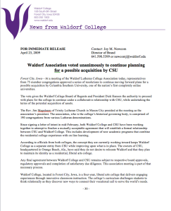 News Release: Waldorf Association Vote