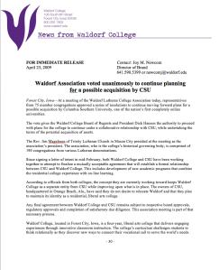 News Release: Waldorf Association Vote